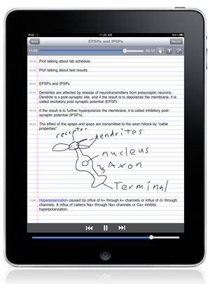 Playback of lecture notes using AudioNote for the iPad