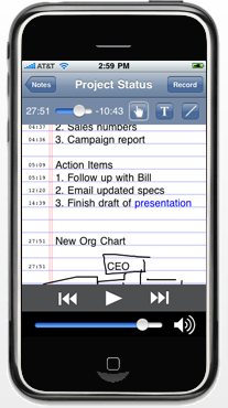 Playback of meeting notes using AudioNote for the iPhone