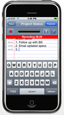 Recording meeting notes using AudioNote for the iPhone